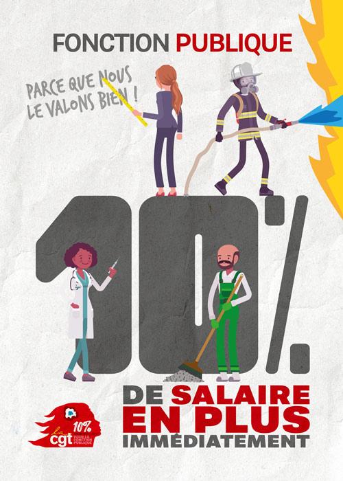 Affiche : 10% de salaire en plus immédiatement